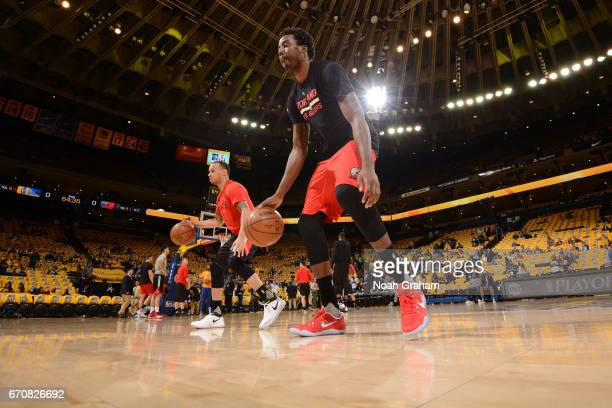 AlFarouq Aminu of the Portland Trail Blazers warms up before Game Two of the Western Conference Quarterfinals against the Golden State Warriors...