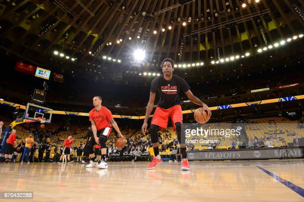 AlFarouq Aminu of the Portland Trail Blazers warms up before the game against the Golden State Warriors during Game Two of the Western Conference...