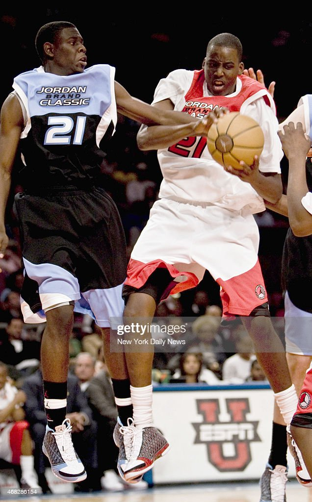 AlFarouq Aminu right against Jrue Holiday during the 2008 Jordan Brand Classic at Madison Square Garden