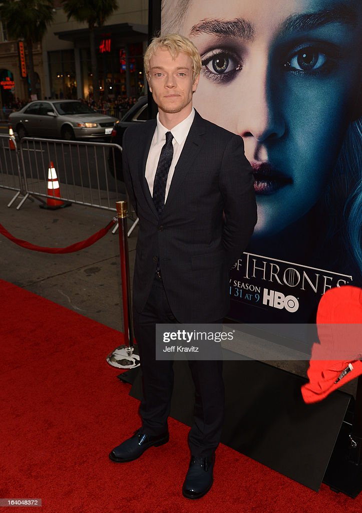 <a gi-track='captionPersonalityLinkClicked' href=/galleries/search?phrase=Alfie+Allen&family=editorial&specificpeople=885196 ng-click='$event.stopPropagation()'>Alfie Allen</a> arrives to HBO's 'Game Of Thrones' Los Angeles Premiere at TCL Chinese Theatre on March 18, 2013 in Hollywood, California.