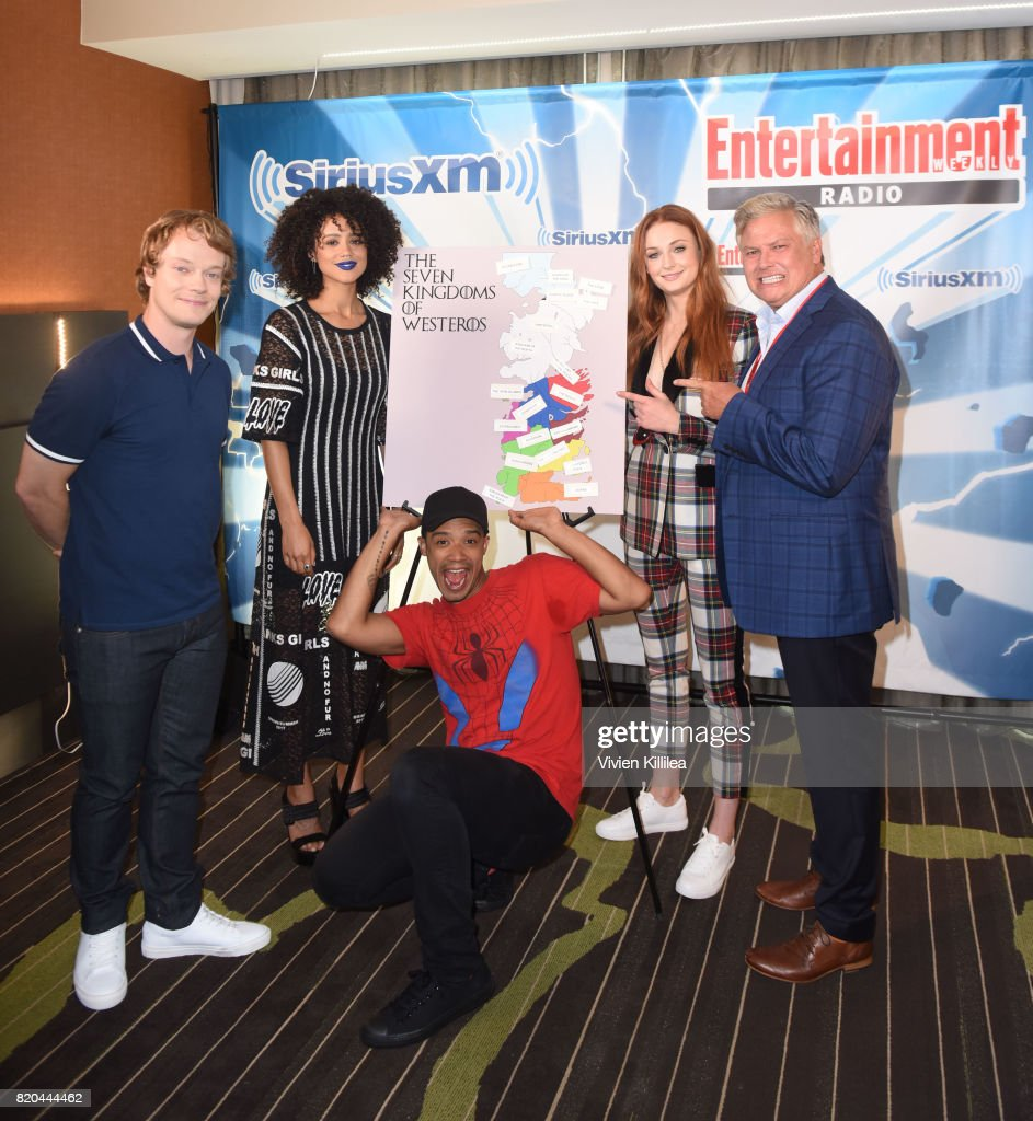 Alfie Allen, Nathalie Emmanuel, Jacob Anderson, Sophie Turner and Conleth Hill attend SiriusXM's Entertainment Weekly Radio Channel Broadcasts From Comic Con 2017 at Hard Rock Hotel San Diego on July 21, 2017 in San Diego, California.