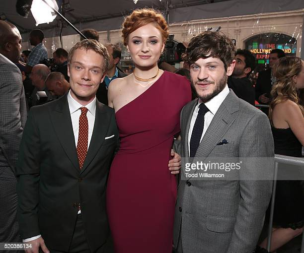 Alfie Allen Sophie Turner and Iwan Rheon attend the premiere of HBO's 'Game Of Thrones' Season 6 at TCL Chinese Theatre on April 10 2016 in Hollywood...