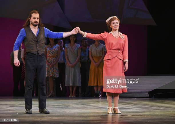 Alfie Boe and Katherine Jenkins bow at the curtain call during the press night performance of the English National Opera's production of Rodgers...