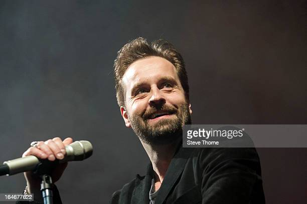Alfie Boe performs on stage at National Indoor Arena on March 22 2013 in Birmingham England