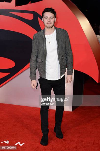 Alfie Deyes arrives for the European Premiere of 'Batman V Superman Dawn Of Justice' at Odeon Leicester Square on March 22 2016 in London England