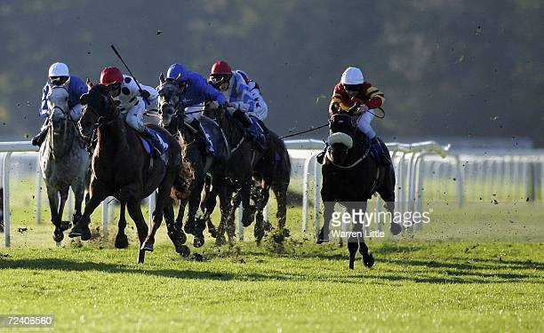 Alfie Flits ridden by Robbie Fitzpatrick enroute to winning the Celebrates Artist Piran Strange Paints For Sparks Stakes at Royal Windsor Race Course...