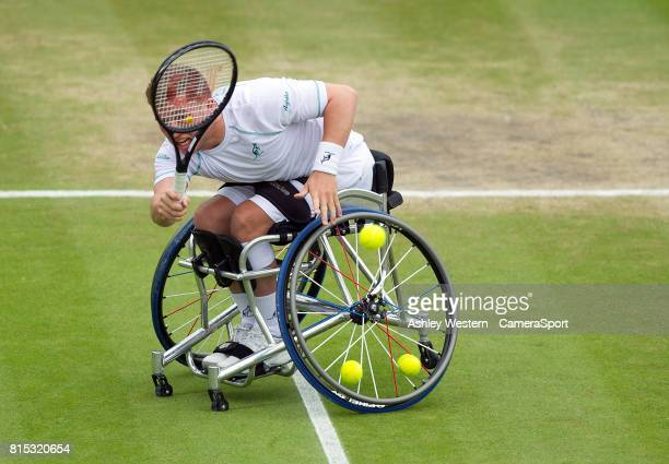 Alfie Hewett in action with partner Gordon Reid celebrates a point during their Gentlemen's Wheelchair Doubles Final on Court 3 against Stephane...