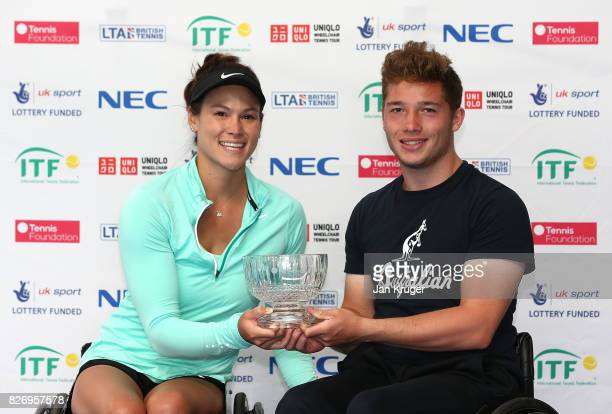 Alfie Hewett of Great Britain and Dana Mathewson of United States of America pose with the mixed double runners up trophy during the British Open...