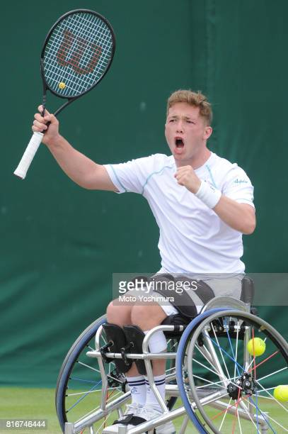 Alfie Hewett of Great Britain celebrates a point during the Gentlemen's wheel chair doubles final against Stephane Houdet and Nicolas Peifer of...