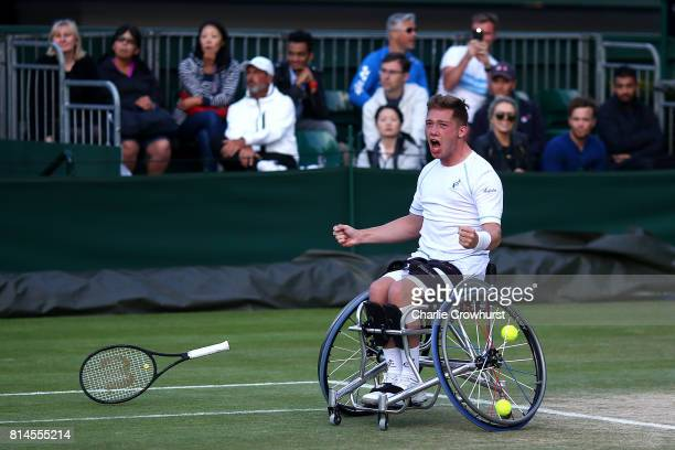 Alfie Hewett of Great Britain celebrates winning his men's doubles wheel chair semi final match against Gustavo Fernandez of Argentina and Shingo...