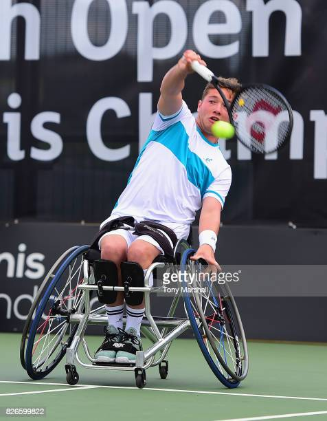 Alfie Hewett of Great Britain in action against Gordon Reed of Great Britain in his semi final match during the British Open Wheelchair Tennis at The...