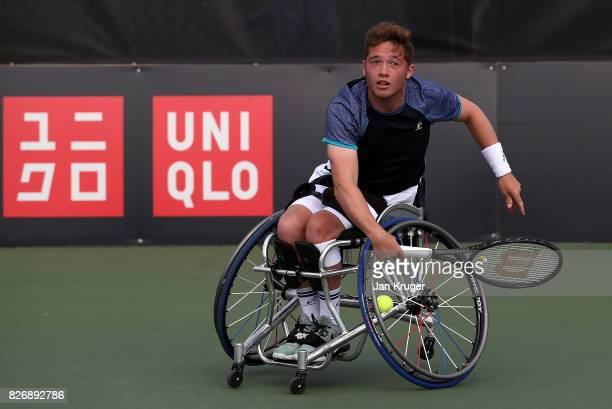 Alfie Hewett of Great Britain in action against Gustavo Fernandez of Argentina during the British Open Wheelchair Tennis mens singles final match at...