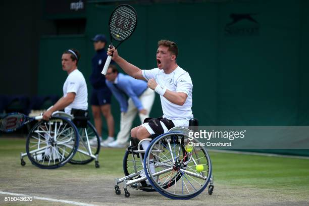 Alfie Hewett of Great Britain in action during his men's doubles wheel chair tennis final against Stephane Houdet and Nicolas Peifer of France on day...