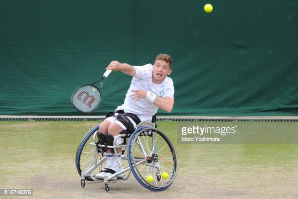 Alfie Hewett of Great Britain in action during the Gentlemen's wheel chair doubles final against Stephane Houdet and Nicolas Peifer of France on day...