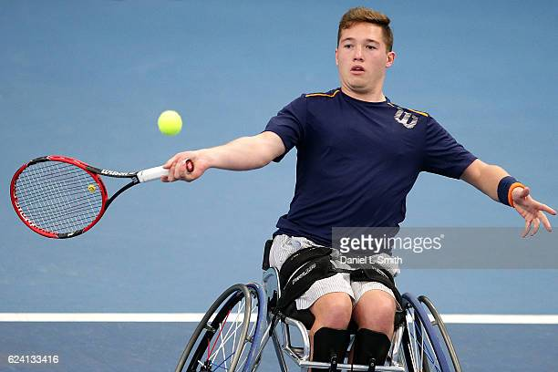 Alfie Hewett of Great Britain plays a forehand during his men's singles Semi Final match against Gustavo Fernandez of Argentina during the Bath...