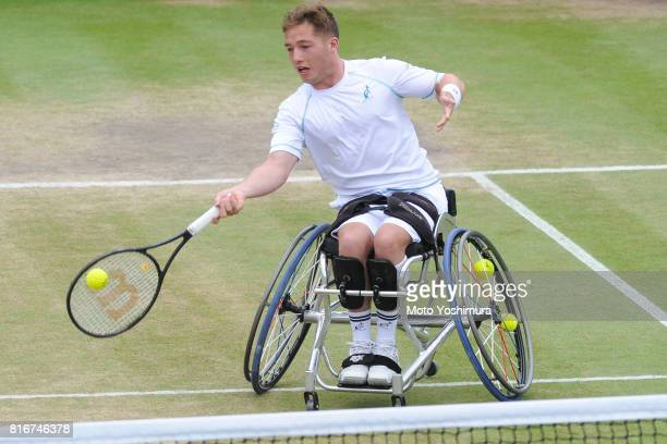 Alfie Hewett of Great Britain plays a forehand during the Gentlemen's wheel chair doubles final against Stephane Houdet and Nicolas Peifer of France...