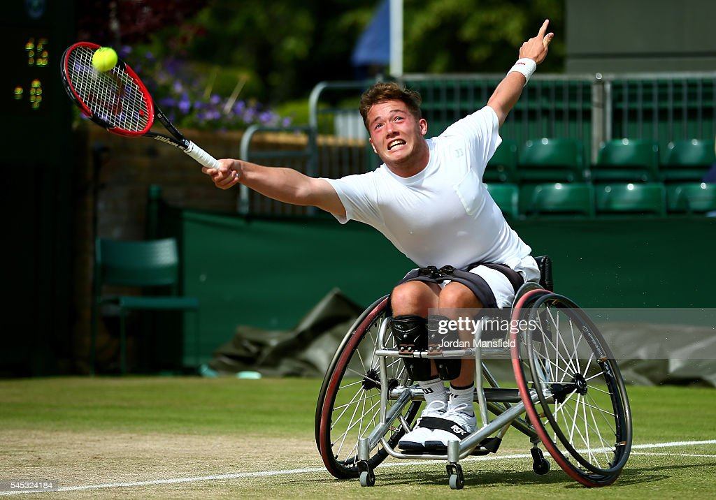 Alfie Hewett of Great Britain plays a forehand during the Men's Wheelchair Singles against Joachim Gerard of Belgium on day ten of the Wimbledon Lawn Tennis Championships at the All England Lawn Tennis and Croquet Club on July 7, 2016 in London, England.