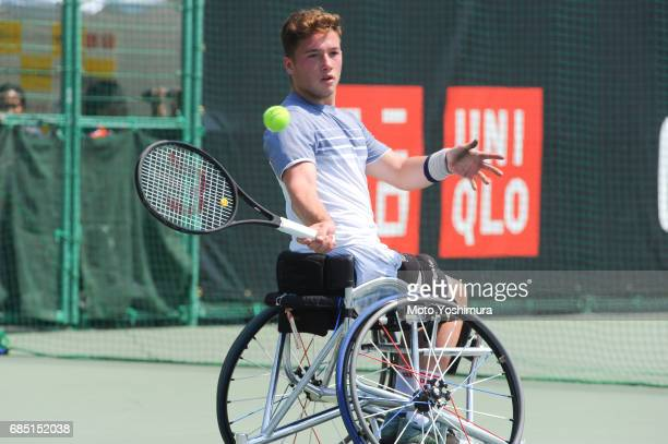 Alfie Hewett of Great Britain plays a forehand during the Men's singles quarter final against Nicolas Peifer of France during day four of the...
