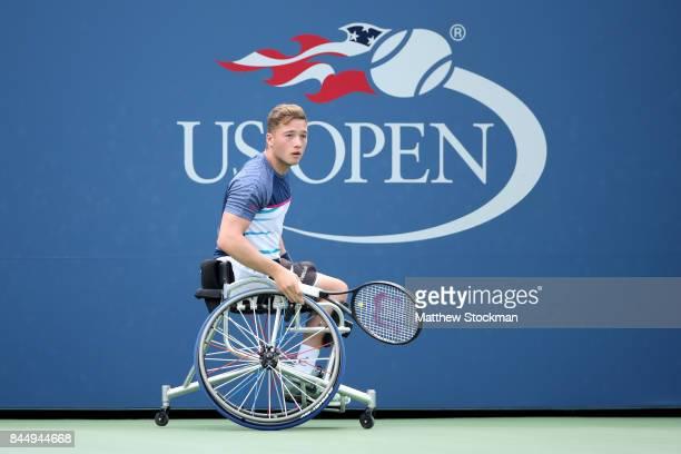 Alfie Hewett of Great Britain reacts against Gordon Reid of Great Britain in their Wheelchair Men's Singles semifinal match on Day Thirteen of the...