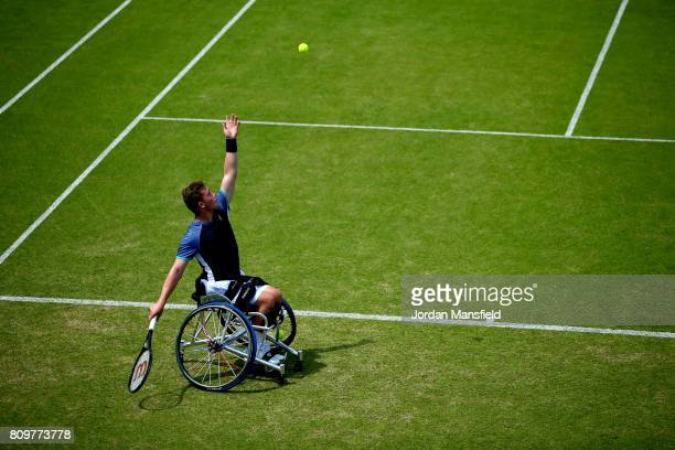 Alfie Hewett of Great Britain serves during his match against Gustavo Fernandez of Argentina during day one of the Surbiton Wheelchair Tennis...