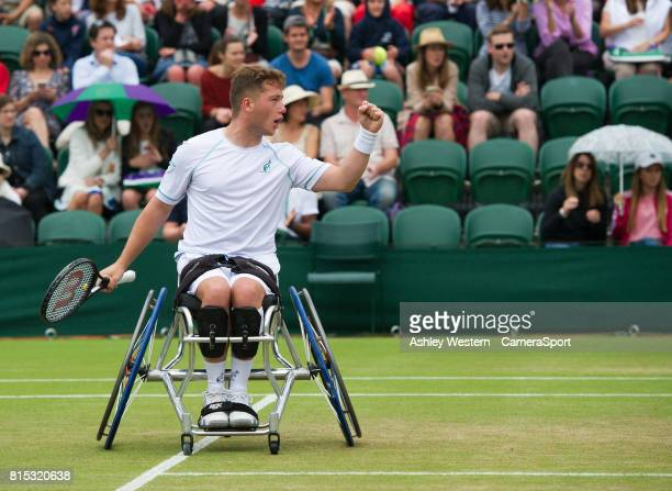 Alfie Hewett with partner Gordon Reid celebrates a point during their Gentlemen's Wheelchair Doubles Final on Court 3 against Stephane Houdet and...