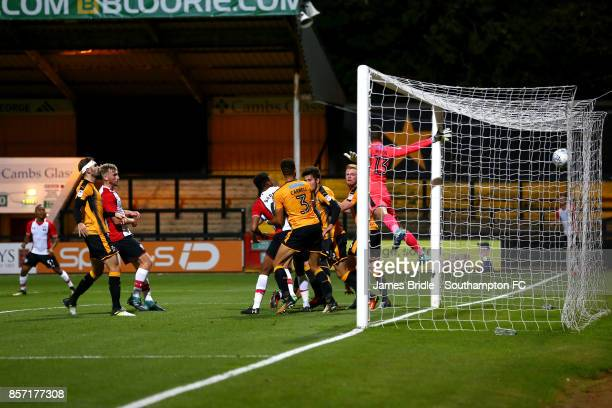 Alfie Jones of Southampton FC scores from an incoming corner during the U23's match between Cambridge United and Southampton FC at Cambridge Glass...