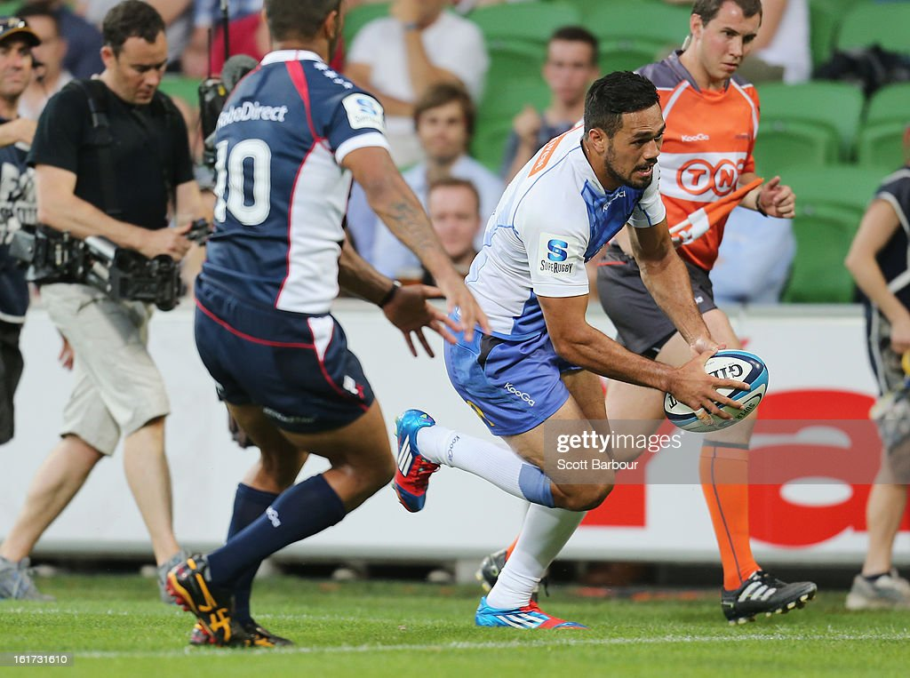 Alfie Mafi of the Force scores a try during the round one Super Rugby match between the Rebels and the Force at AAMI Park on February 15, 2013 in Melbourne, Australia.