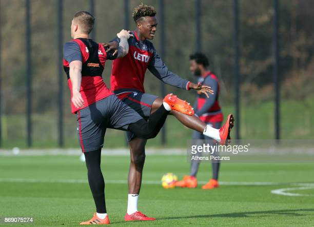 Alfie Mawson and Tammy Abraham in action during the Swansea City Training at The Fairwood Training Ground on November 01 2017 in Swansea Wales
