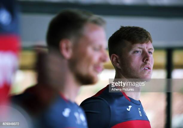 Alfie Mawson exercises in the gym during the Swansea City Training at The Fairwood Training Ground on August 10 2017 in Swansea Wales