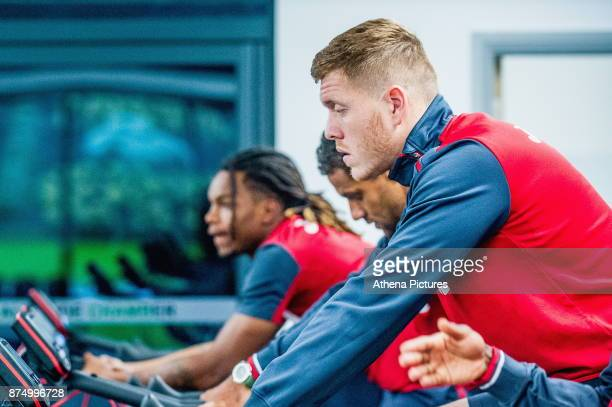 Alfie Mawson exercises in the gym during the Swansea City training session at The Fairwood training Ground on November 16 2017 in Swansea Wales