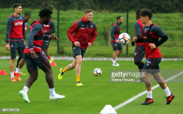 Alfie Mawson in action during the Swansea City Training at The Fairwood Training Ground on September 27 2017 in Swansea Wales