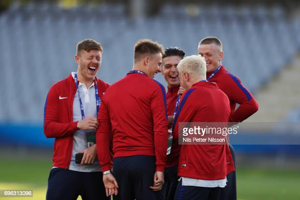 Alfie Mawson Jack Grealish and Jordan Pickford of England during the English U21 national team walk around at Kielce Arena on June 15 2017 in Kielce...