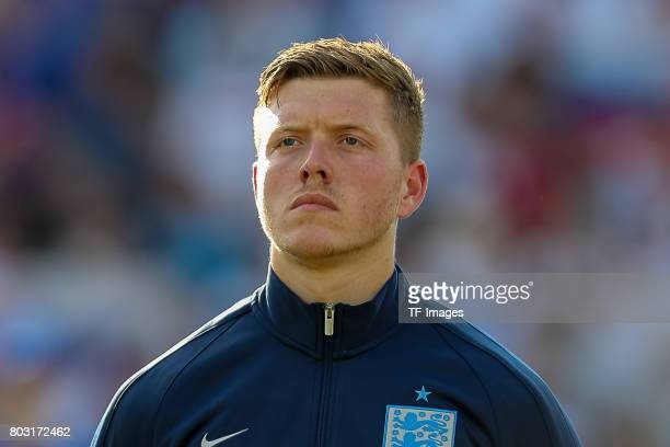 Alfie Mawson of England looks on during the 2017 UEFA European Under21 Championship match between Slovakia and England on June 19 2017 in Kielce...