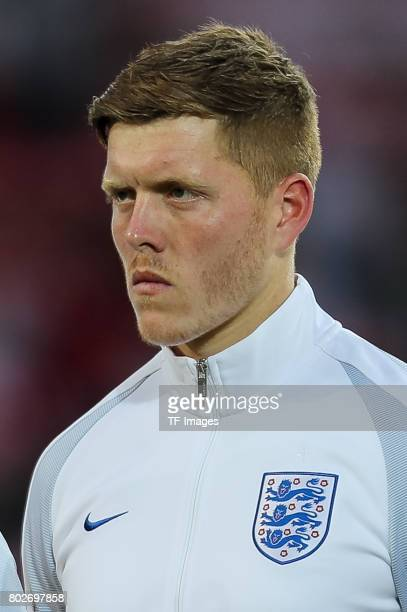 Alfie Mawson of England looks on during the UEFA European Under21 Championship Group A match between England and Poland at Kielce Stadium on June 22...