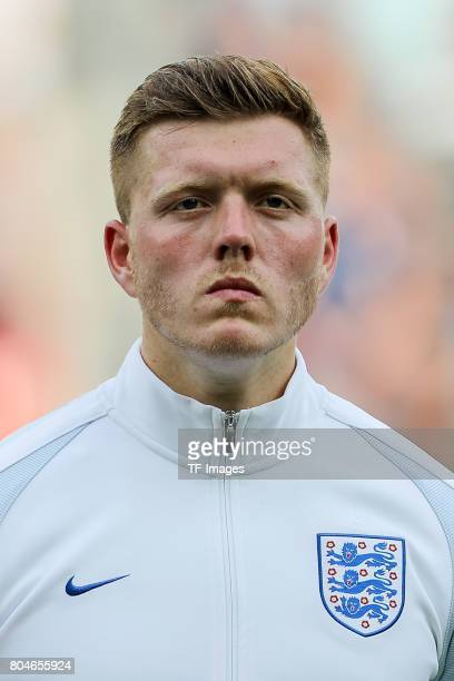 Alfie Mawson of England looks on during the UEFA European Under21 Championship Semi Final match between England and Germany at Tychy Stadium on June...