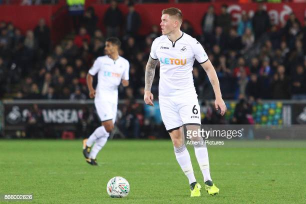 Alfie Mawson of Swansea City during dthe Carabao Cup Fourth Round match between Swansea City and Manchester United at the Liberty Stadium on October...