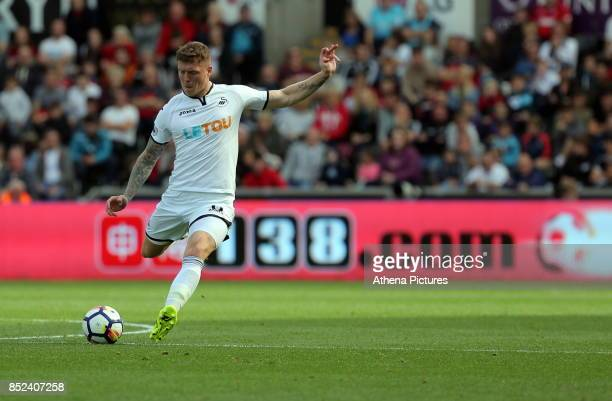 Alfie Mawson of Swansea City in action during the Premier League match between Swansea City and Watford at The Liberty Stadium on September 23 2017...