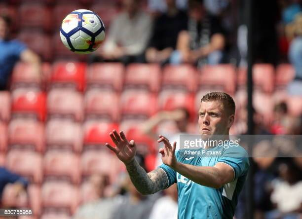 Alfie Mawson of Swansea City practices headers prior to the Premier League match between Southampton and Swansea City at the St Mary's Stadium on...
