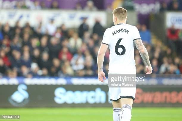 Alfie Mawson of Swansea City prior to kick off of the Carabao Cup Fourth Round match between Swansea City and Manchester United at the Liberty...