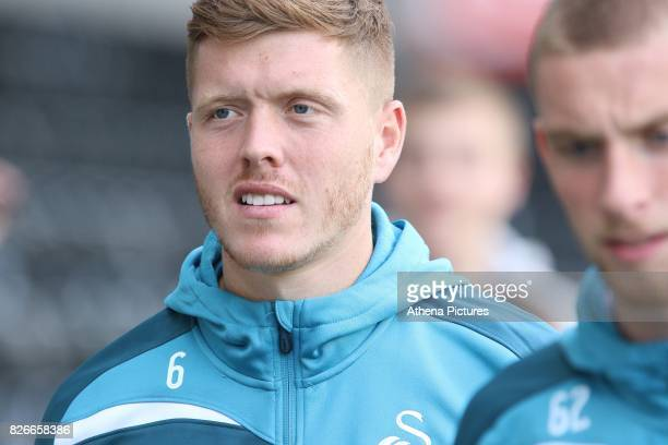 Alfie Mawson of Swansea City prior to kick off of the preseason friendly match between Swansea City and Sampdoria at The Liberty Stadium on August 5...