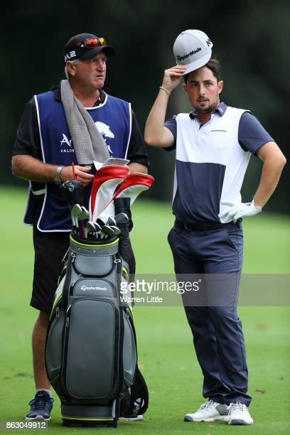 Alfie Plant of England looks down the 18th hole during day one of the Andalucia Valderrama Masters at Real Club Valderrama on October 19 2017 in...