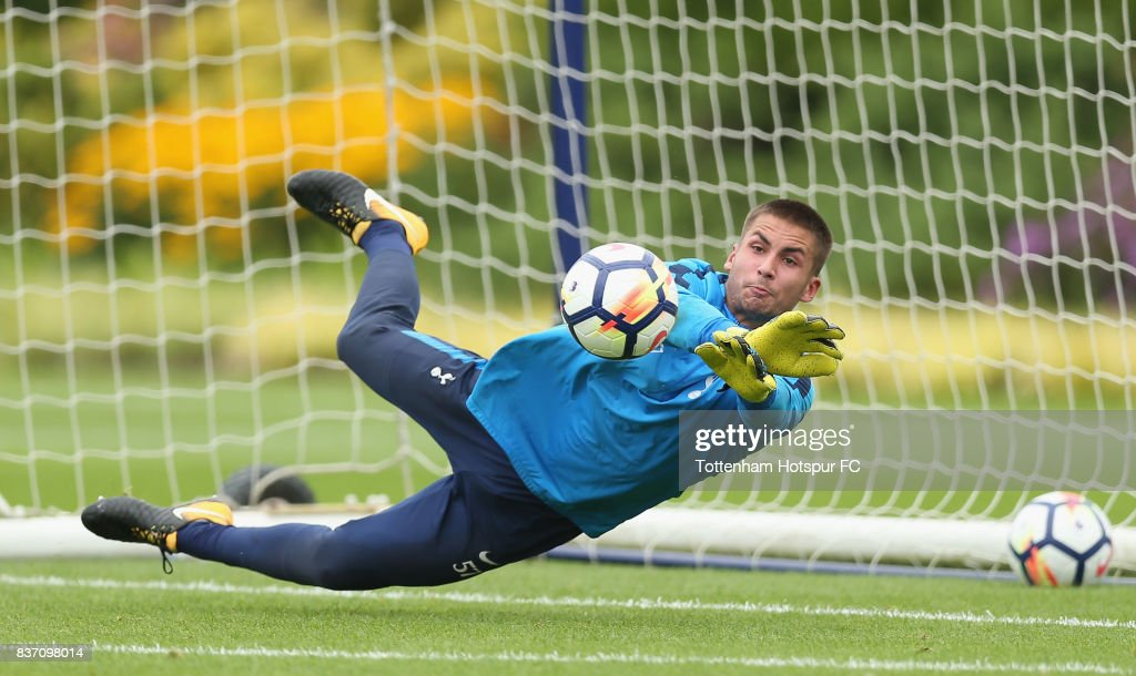 Alfie Whiteman of Tottenham during the Tottenham Hotspur training session at Tottenham Hotspur Training Centre on August 22, 2017 in Enfield, England.