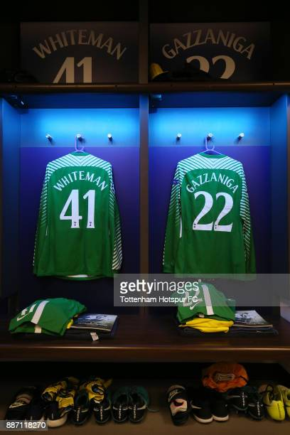 Alfie Whiteman of Tottenham Hotspur and Paulo Gazzaniga of Tottenham Hotspur shirts hang in the changing room prior to the UEFA Champions League...