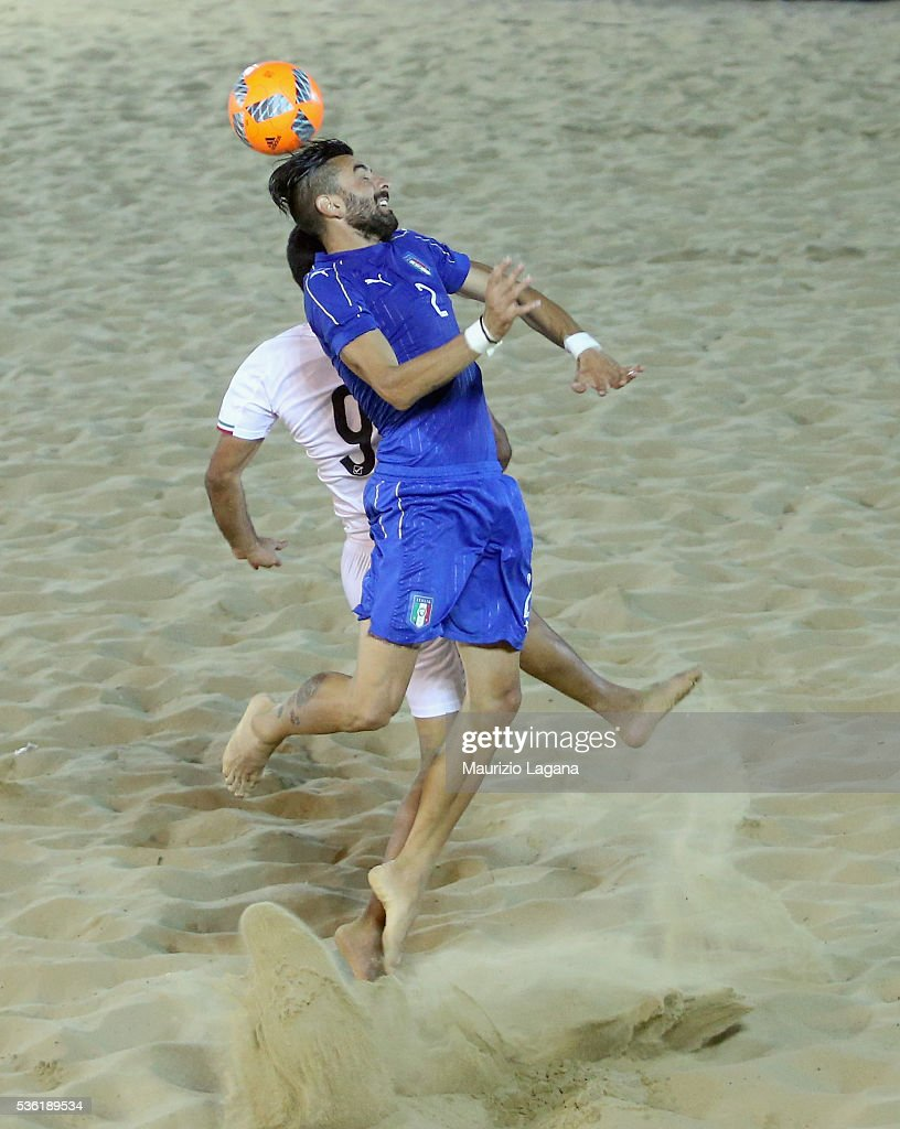 Alfio Chiavao of Italy during the beach soccer international frienldy between Italy and Iran on May 31, 2016 in Catania, Italy.