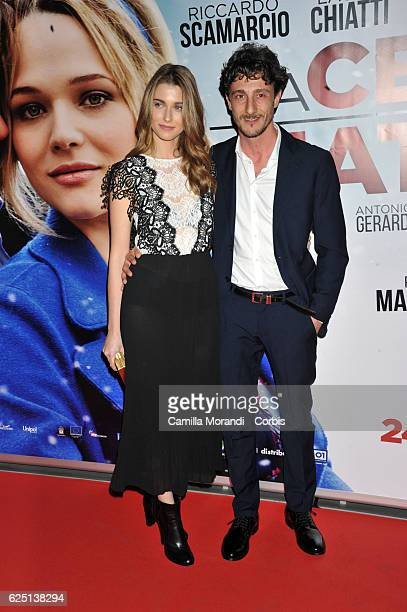Alfio Sorbello and Silvia Mazzieri walk a red carpet for 'La Cena Di Natale' on November 22 2016 in Rome Italy