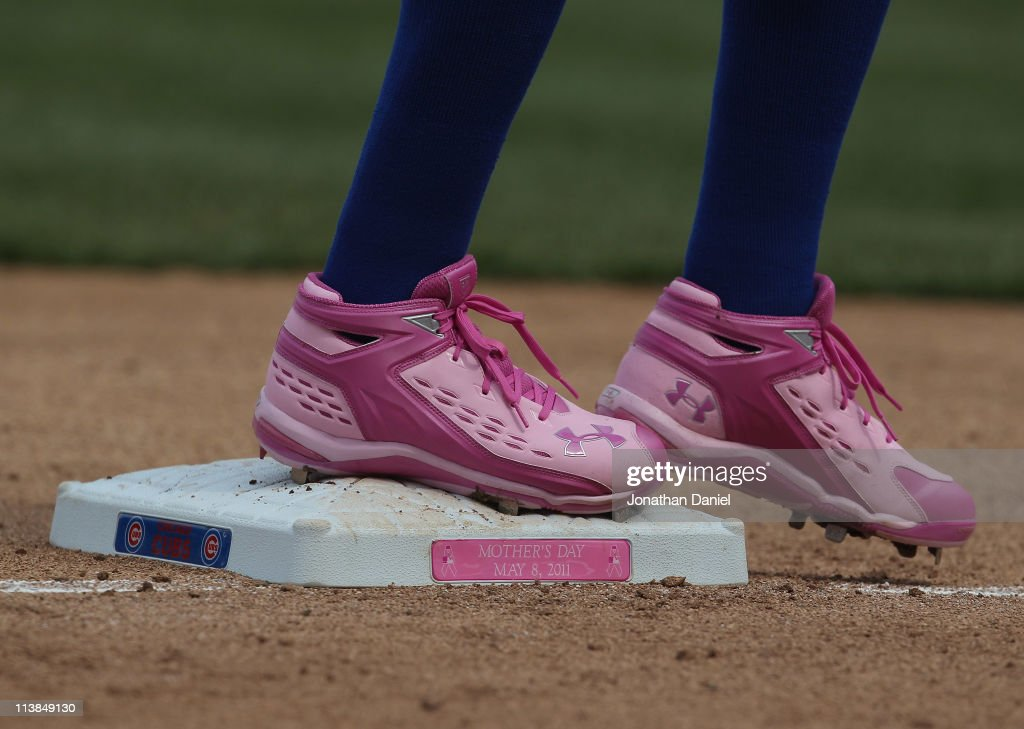 Alfonoso Soriano #12 of the Chicago Cubs stands on third base wearing pink shoes for breat cancer awareness during a game against the Cincinnati Reds at Wrigley Field on May 8, 2011 in Chicago, Illinois. The Reds defeated the Cubs 2-0.