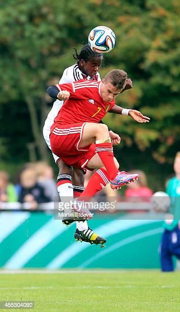 Alfons Amade of U16 Germany challenges Thibaut Verlinden of U16 Belgium during the match between U16 Germany v U16 Belgium at HeinzDettmerStadion on...