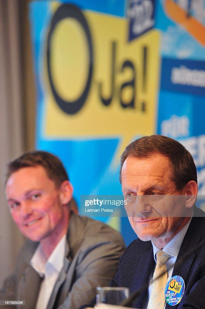 Alfons Hoermann, president of the German Ski Federation (DSV) (R), and <a gi-track='captionPersonalityLinkClicked' href=/galleries/search?phrase=Alexander+Resch&family=editorial&specificpeople=228750 ng-click='$event.stopPropagation()'>Alexander Resch</a>, Luge Olympic Champion attend a press conference regarding the the city of Munich's application for the Winter Olympic Games 2022 on November 8, 2013 in Munich, Germany.