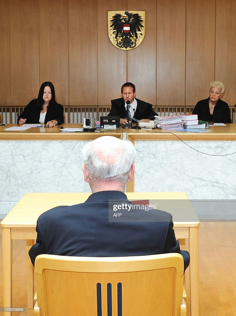 Alfons Mandorfer, former Austrian priest and headmaster of the Kremsmuenster monastery boarding school, waits for the opening of his trial on July 1, 2013 at regional court in Steyr. The 79 years old man went on trial accused of sexually abusing 15 boys and physically assaulting nine others. Kremsmuenster Abbey, founded in 777 near Krems in central Austria, has already paid out more than 700,000 euros ($900,000) in compensation to victims of abuse at the school since the scandal erupted several years ago.