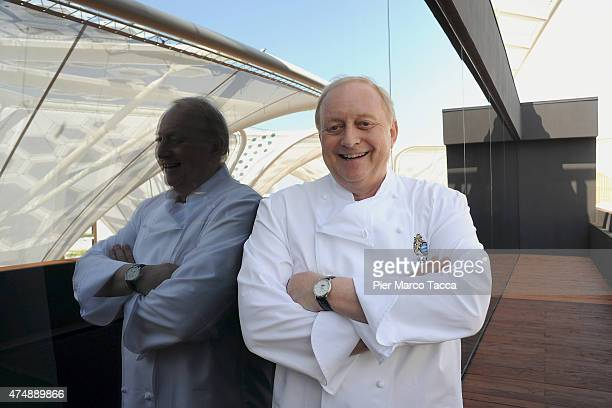 Alfons Schubeck Ambassador for Expo 2015 poses for a photo at pavilion Zero during the Expo 2015 at Fiera Milano Rho on May 27 2015 in Milan Italy